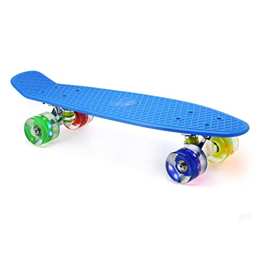"M Merkapa 22"" Complete Skateboard with Colorful LED Light Up Wheels for Kids, Boys, Girls, Youths, Beginners(Blue)"