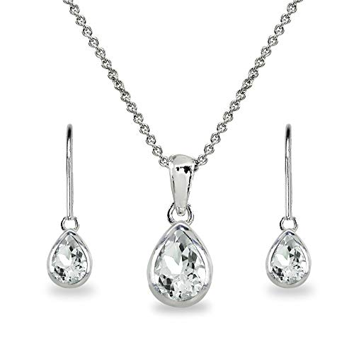 Sterling Silver Light Aquamarine Teardrop Bezel Pendant Necklace & Dangle Earrings Set for Women, Teen Girls