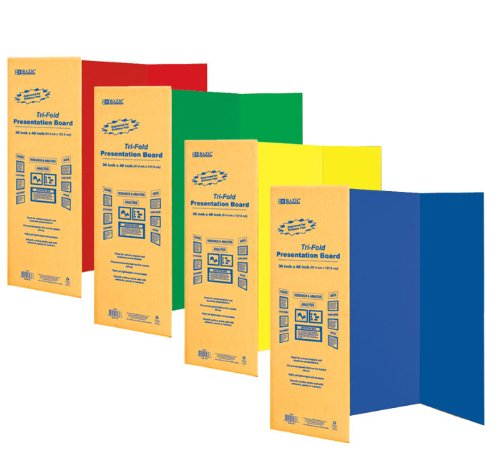 BAZIC 36'' X 48'' Assorted Color Tri-Fold Corrugated Presentation Board, Case Pack 24 by Bazic