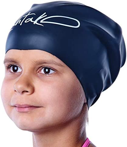 Swim Caps for Long Hair Kids - Swimming Cap for Girls Boys Kids Teens with Long Curly Hair Braids Dreadlocks - 100% Silicone Hypoallergenic Waterproof Swim Hat