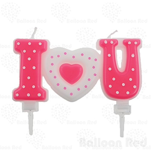 I love you candle & Happy Birthday Cake Topper, Pink Heart, Valentine