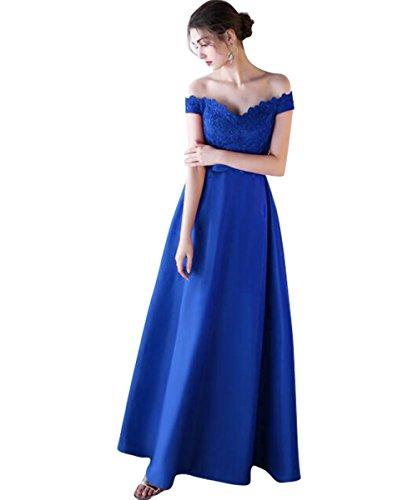 Abendkleid Satin A Bodenlang Elegantes Ab Ballkleider Langes Blau Schulter Linie Langes V Ausschnitt Burgund Spitze RZ0RwqPgIW
