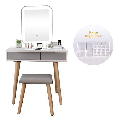 Vanity Table Set with Adjustable Brightness Mirror and Cushioned Stool, Dressing Table Vanity Makeup Table with Free Make-up Organizer (Dressing Small Vanity Table)