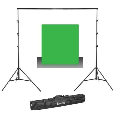 (Westcott Photo Basics 9' x 10' Green Screen Cotton Background - Bundle with Flashpoint 13' Background Support System)