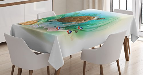 - Ambesonne Ocean Decor Tablecloth, Sea Turtle Swims in The Ocean Tropical Underwater World Aquarium Illustration Print, Rectangular Table Cover for Dining Room Kitchen, 52x70 Inch, Green Brown