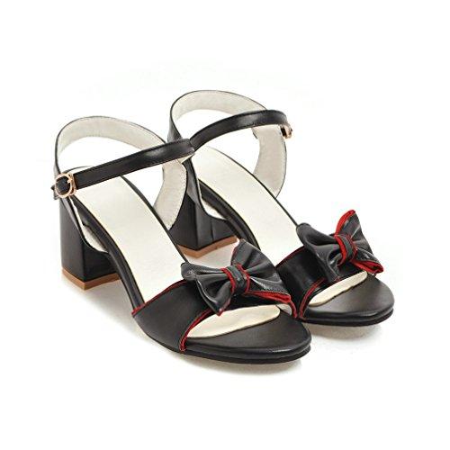 YE Damen Chunky Heels Sandalen mit Riemchen Pumps mit Schleife und Schnalle 5cm Absatz Sommer Schuhe Schwarz