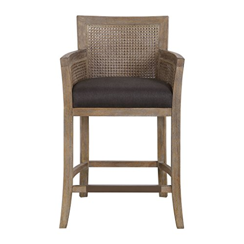 My Swanky Home Exposed Bleached Wood Natural Finish Bar Counter Stool   Cane Back Sides Coastal (Back Stools Cane Bar)