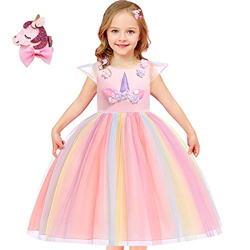 Girls Unicorn Costume Outfit Pageant Princess Party Dress Size 3T 4T 5T 6T 7T 8T 9T (Rainbow Unicorn, 8-9 Years)]()