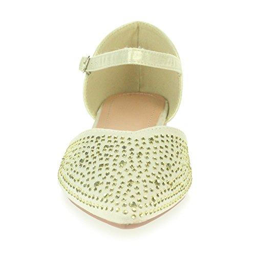oras Mujer Zapatos o Sandalias Planas Diamante Oro Casual Comodidad Se Noche tama Boda 5rq4wrT