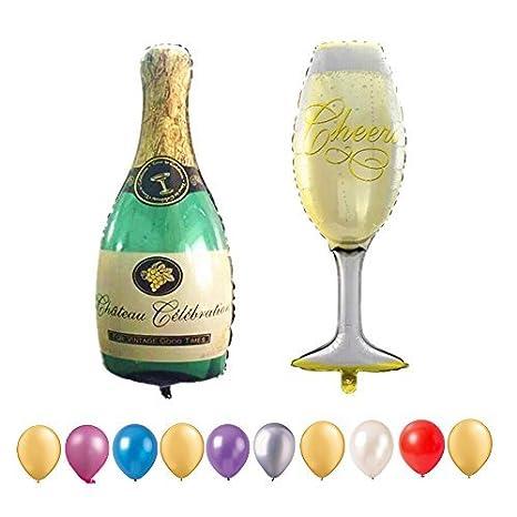 Hemore Globos de graduación, Botella de champán Gigante de 101,6 cm y Globos