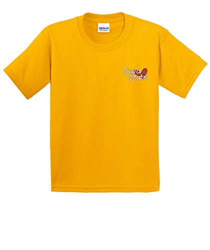 NCAA Iowa State Cyclones Girls Patterned Heart Short Sleeve Cotton T-Shirt, Youth Medium,Gold