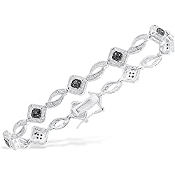 Women's 14K White Gold-Plated Brass 2.00CT Diamond Tennis Bracelet, 5-10 Inches