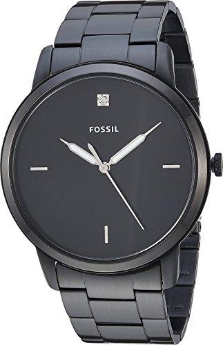 Fossil Men Minimalist Carbon Series Quartz Stainless Steel Diamond Accent Dress Watch, Color: Black (Model: FS5455)