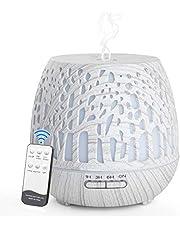 Simpeak Aroma Diffuser 400 ml, LED ultrasone geurverstuiver met afstandsbediening, essentiële olie aromatherapie diffuser draagbaar - gesneden bos, witte houtnerf