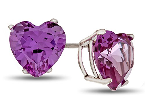 Finejewelers 7x7mm Heart-Shaped Simulated Alexandrite Post-With-Friction-Back Stud Earrings 10k White Gold