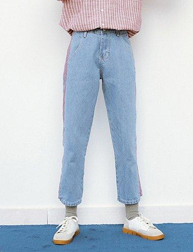 TT&NIUZAIKU Frauen Normale Mitte Aufstieg Mikro-elastische Jeans Hosen, Vintage Feste Baumwolle Leinen Bambusfaser Acryl Feder, Light Blau, 27