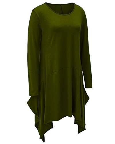 Mujeres Vestido Con Manga Larga Escote Redondo Mini Dress Camiseta Larga Hem Irregular Vestido de Otoño Ejercito Verde