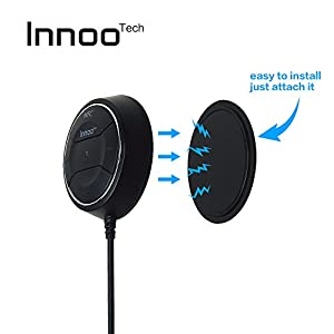 Innoo Tech Bluetooth 4.0 Car Audio Receiver Hands-free Car Kit Speakerphone with Mic Comes with Dual USB Charger 3.5mm Aux Jack Easy Installation-Black