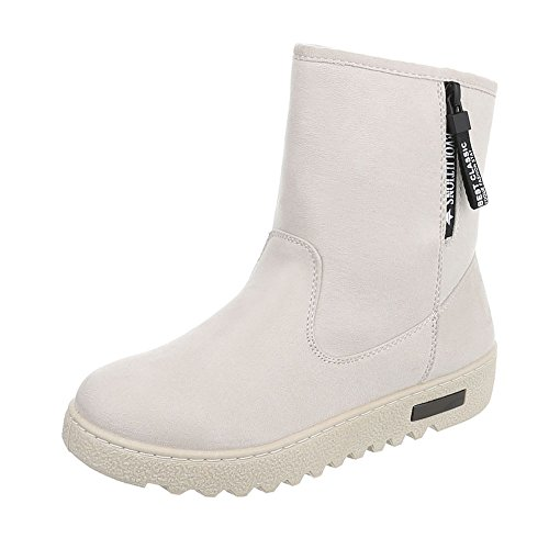 Women's Boots Flat Classic Ankle Boots at Ital-Design Beige