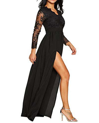 - BYSBZD Women's Elegant Thigh Slit Lace Long Sleeve Plus Size Party Dress Clubwear Black S
