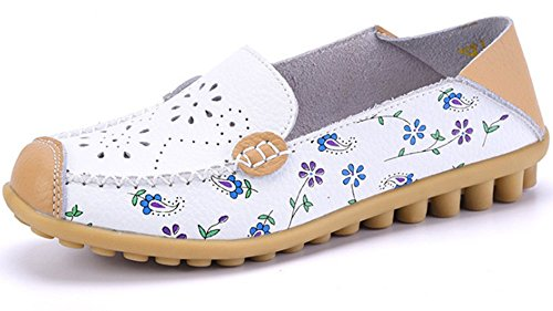 Labato+Style+Women%27s+Flower+Print+Leather+Penny+Slip+On+Loafers+Dress+Falts+Boat+Shoes+%28White%2C+8+B%28M%29+US%29