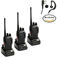 Galwad 888S Walkie Talkie 400-470 MHz Two Way Radio Rechargeable Long Range Headset Headphone with Built in Led Torch (Pack of 3)