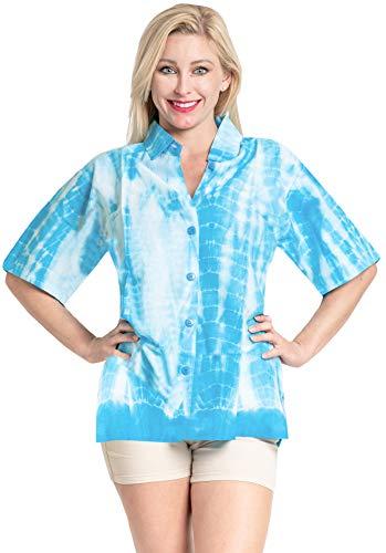 LA LEELA Cotton Womens Beach Blouse Cover Button Down Hawaiian Shirt Blue White