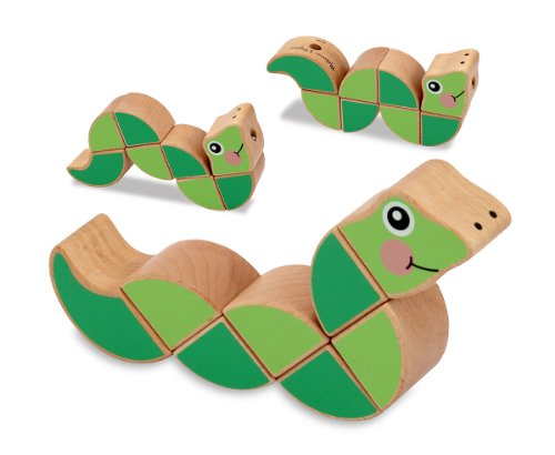 Melissa & Doug Wiggling Worm Wooden Grasping Toy for Baby