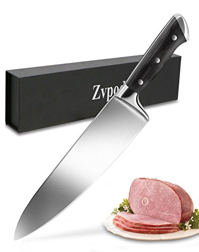 Professional 8 inch Chef Knife - Upgrated Kitchen knife German High Carbon Stainless Steel Sharp Chopping Knife Full Tang Well Balanced, Pakka Wood Handle, with Gift Case, By Zvpod