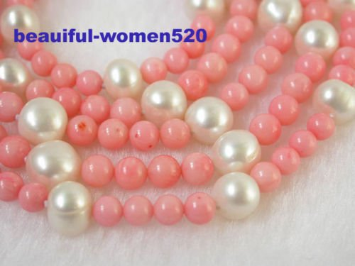 White Pearls Pink Coral Necklace - n1320 beautiful 32