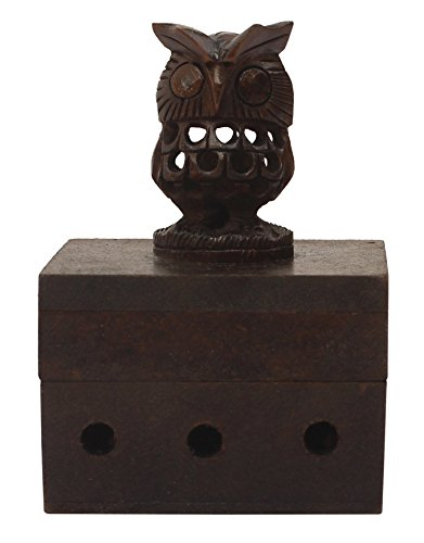 Wooden Incense Holder (Smoking Owl) - Incense Cone Burner Brown 4.1