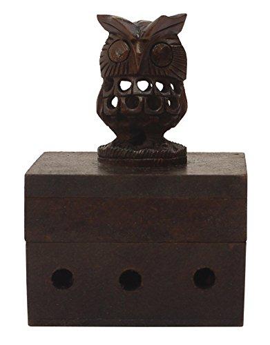 Wood Incense Box Burner - Wooden Incense Holder (Smoking Owl) - Incense Cone Burner Brown 4.1
