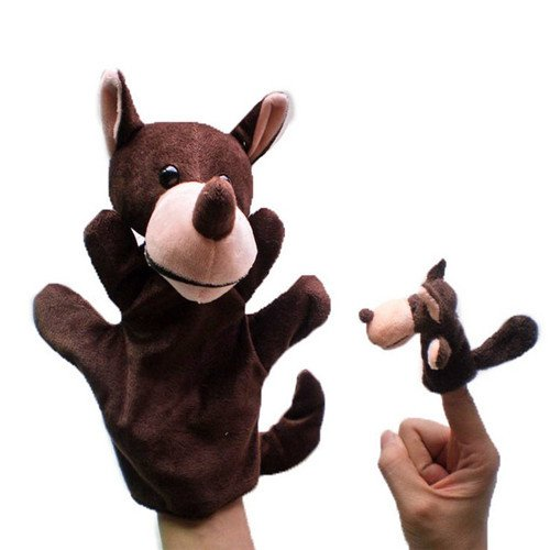 2Pcs (1 Big+1 Small) Lovely Kids Baby Plush Toys Finger Puppet Talking Props Animals Hand (Diy Zebra Halloween Costume)