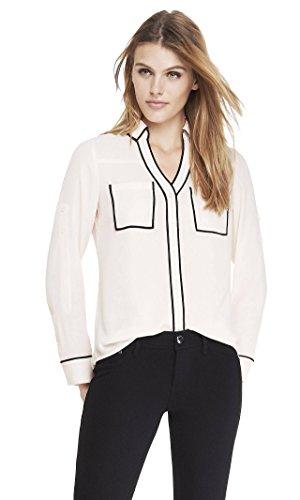 Express Womens Portofino Shirt  Original Fit  Contrast Piping  Soft Ivory 3  Xs