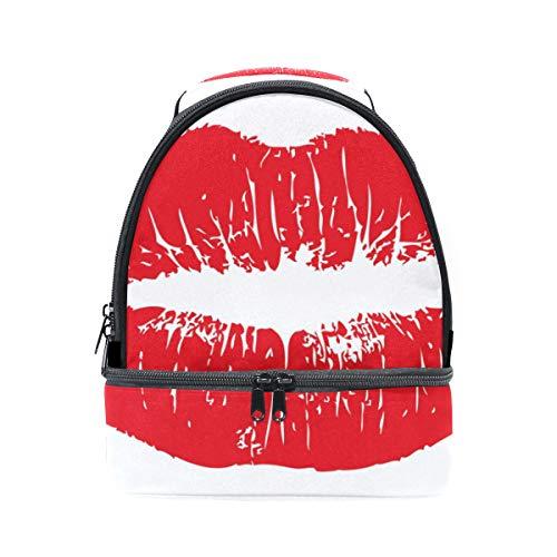 ajustable grandes correa rojo Bolso labios para almuerzo sexy color doble el picnic de para hombro xPBxw7