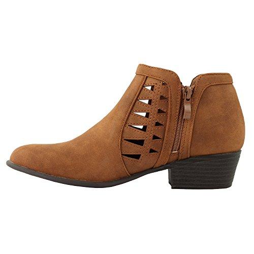 Guilty Schuhe Damen Blockabsatz Geschlossene Zehe - Riemchen Stiefeletten Tan1 Nubuk