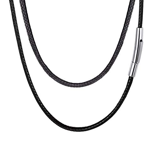 FaithHeart Braided Leather Cord Necklace with Stainless Steel Durable Snap Clasp, 2mm Men Women DIY Woven Wax Rope Chain for Pendant, 20 Inches ()