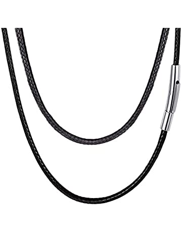 705a87f96 FaithHeart Braided Leather Cord Necklace Stainless Steel Durable Snap  Clasp, 2MM/3MM Men Women