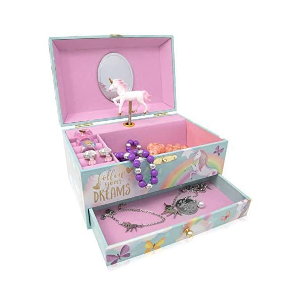 The Memory Building Company Unicorn Music Box & Little Girls Jewelry Set - 3 Unicorn Gifts for Girls 7