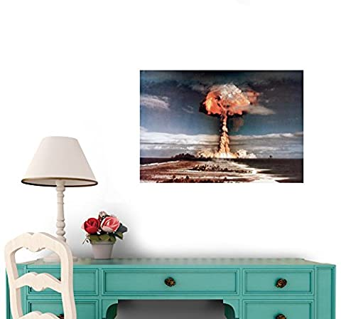 Wallmonkeys Mushroom Cloud during Atomic Weapons Test Peel and Stick Wall Decals WM111564 (60 in W x 41 in (Nuclear Bomb Decal)