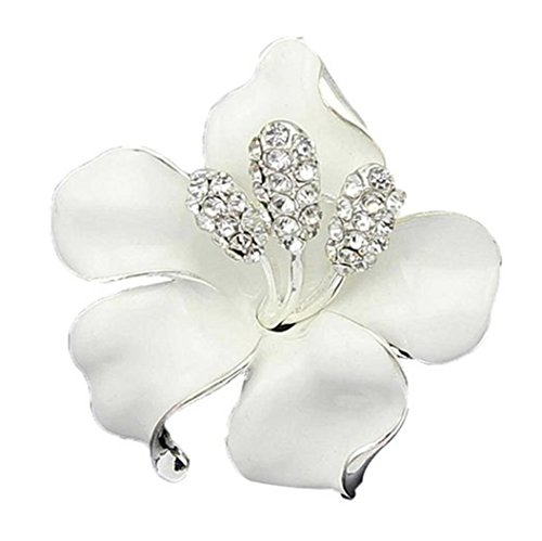 Polytree Bridal Wedding Jewelry Lily Rose Brooch Crystal Rhinestone Pins Gift - (Rose Rhinestone Brooch)