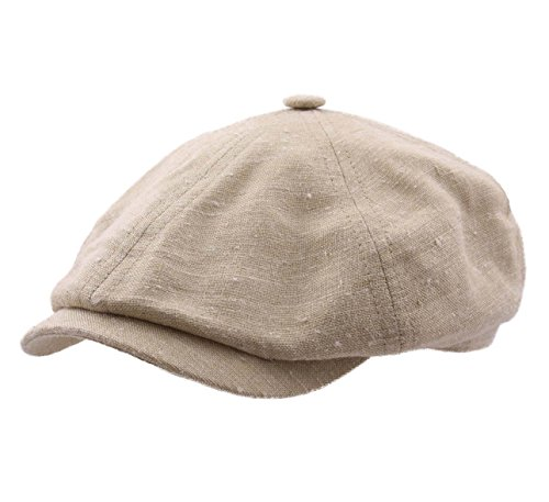 (Stetson Men's Panel Cap Linen/Silk Flat Cap Size M Beige-7)