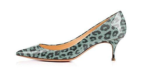 Fsj Kvinder Sexet Leopard Slange Dyreprint Sko Spidse Tå Killing Lave Hæle Kjole Pumper Størrelse 4-15 Os Lys-grøn-leopard vCP35LU