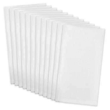 DII 100% Cotton, Machine Washable Everyday Basic Buffet Napkin, 16 x 16 , White, Set of 12