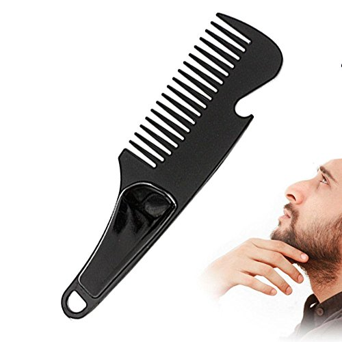 Beard Comb with Beer Opener, Pompadour Comb, Detangling Brush Comb, Aolvo Beard Detangler Conditioner Styling & Grooming Tool for Straightening Detangling Curving Beard Mustache Beard Oil & Balm