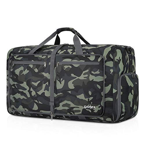 Gonex Foldable Travel Duffel 80L, Packable Luggage Duffle Bag Lightweight Water Repellent & Wear Resistant Black and Green Camouflage