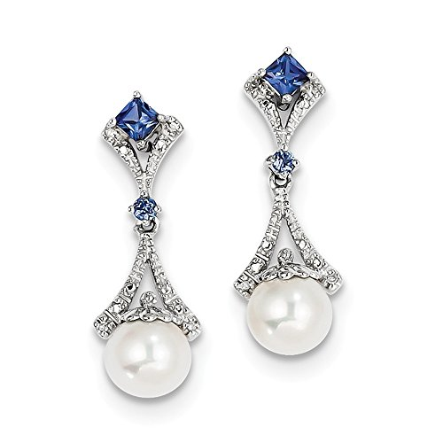 Mia Diamonds 925 Sterling Silver (.03cttw) Rhod Plated Diamond Fresh Water Cultured Pearl/Cr. Sapphire Earrings (26mm x 9mm)