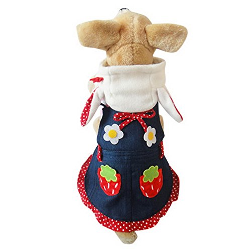 [SELMAI Sweet Strawberry Bunny Costume Denim Dog Dress Striped Top Spring Pink S, for Small Dog Cat] (Mean Girls Bunny Halloween Costume)