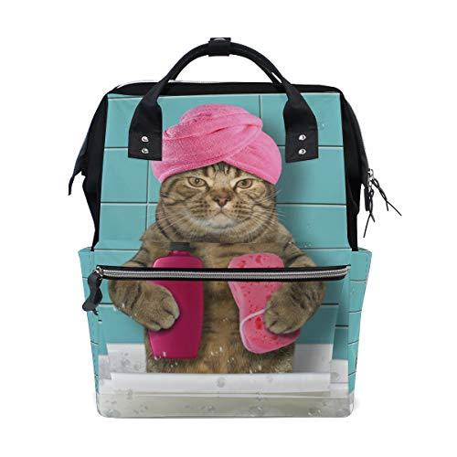 - Bathing Cat School Backpack Bookbag Travel Shoulder Stylish Large Capacity Diaper Bags