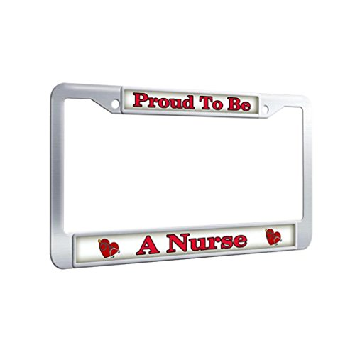 FramePro Stainless Steel License Plate Frame,Proud To Be A Nurse Auto License Plate Frame Car Tag Frame for men With Bolts Washer Caps -